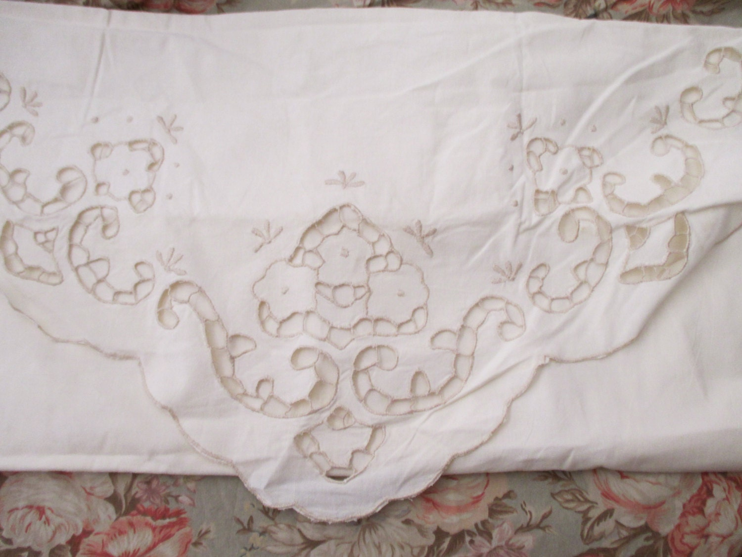 Shabby Chic Cream Cotton PILLOW SHAM large lace