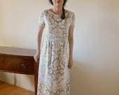 Vtg 70s Crochet Lace Scallop WEDDING Runway BoHo Festival Dress ooak S
