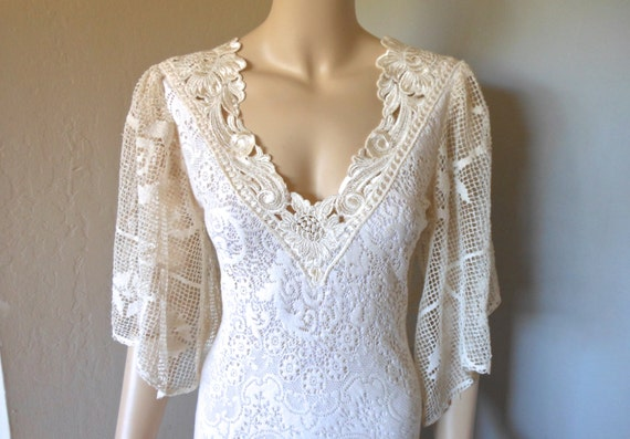 Reserved jani cream crochet lace wedding dress flutter sleeve for Crochet lace wedding dress pattern