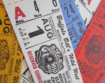 20 vintage tickets - BUFFALO BiLL'S WiLD WEST show - your choice of color
