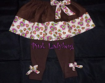 Fall Toddler Girls Infant Girls Fall Skirt with Brown Leggings - Ready to ship in Size 18 Months