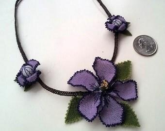 Dark Purple Violet Necklace,Plum Necklace,Purple Necklace,Burgundary Necklace,Crochet Flower Pendant,Crochet Necklace,Lilac Necklace,Violet