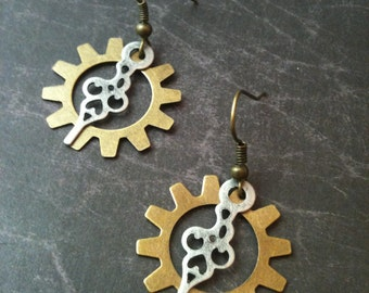 Antiqued Brass Gear and Watch Hand Steampunk Earrings