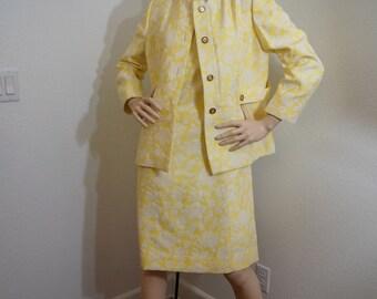 Vintage 60s Mod Jacquard Dress & Jacket / 1960s George Brown Originals Yellow Brocade Dress Suit L XL