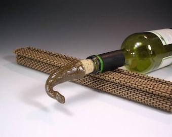 Wine bottle stopper cork, ceramic bottle stopper, pottery wine cork, bottle stopper with stoneware topper, hostess party gift  brown glaze