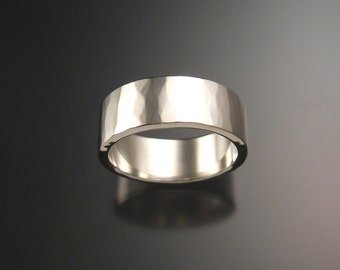 Sterling Silver Hammered finish 2mm x 8mm Rectangular Wedding band made to order in your Size wide silver Ring