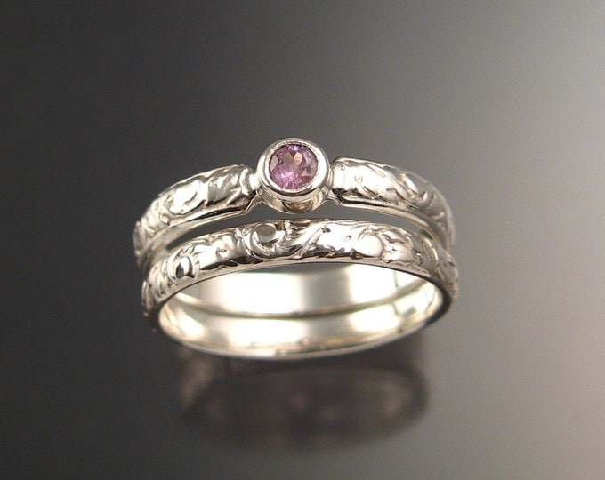 Pink Sapphire Wedding set 14k White Gold Victorian bezel set Pink Diamond substitute ring made to order in your size