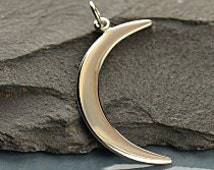 Large Sterling Silver Crescent Moon Charm - Celestial Charms, C1130