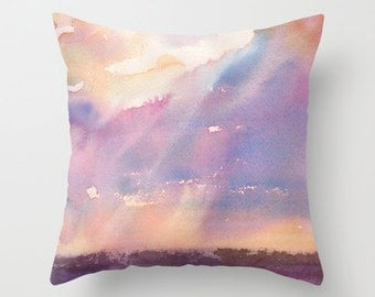 Silver Lining Watercolor Throw Pillow Cover