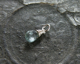 Moss Aquamarine Pendant, Sterling Silver Wire Wrapped Stone Charm - Add a Dangle