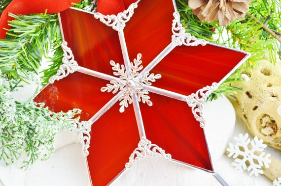 Red Christmas Tree Topper ~ Christmas Decor ~ Holiday Decor ~ Red ~ Stained Glass ~ Handcrafted ~ Gift idea