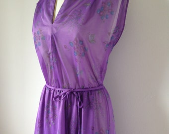 Light Purple Floral Butterfly Patterned 80s Vintage Dress With Gold Detailing