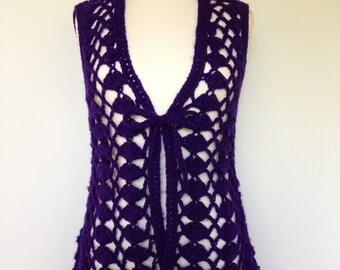 Purple Vintage Boho Hippie Crocheted Festival Wear KARI LYNN Original Made In Japan Vest