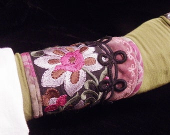 Cuff Rose Sage Green Velvet India Embroidered Black Trim Boho Hippie Gypsy Fabric Bracelet