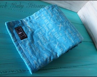 Blue Pirate Text blanket with blue Minky Dots