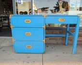 RESERVE-ANNISSA-4 Drawer Campaign Desk or Vanity in Blue (Los Angeles)