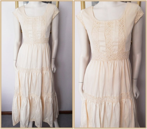 Silky cream crochet lace mexican maxi wedding for Wedding dress large bust small waist