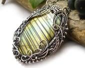 Labradorite necklace , wire wrapped pendant , wirework jewelry , green gold labradorite