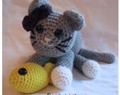 amigurumi kitten and carrier with strap handle and toy fish - PATTERN ONLY