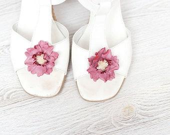 Rose quartz leather flowers shoe clips bridesmaid