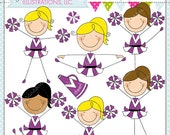 PURPLE Cheerleader Stick Figures Cute Digital Clipart for Commercial or Personal Use, Cheerleader Graphics, Cheerleader Stick Figures