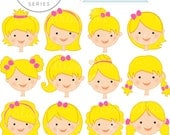 Blonde Girl Faces - Create A Character Series - Cute Digital Clipart - Commercial Use OK - Mix & Match Sets to Create Your Own Character