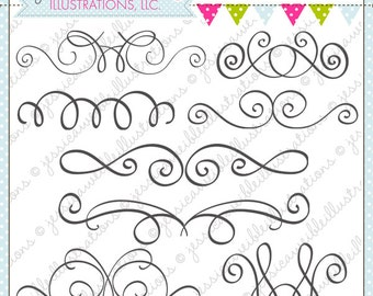 Elegant Swirl Divides Cute Digital Clipart for Commercial or Personal Use, Swirls, Swirl Graphics