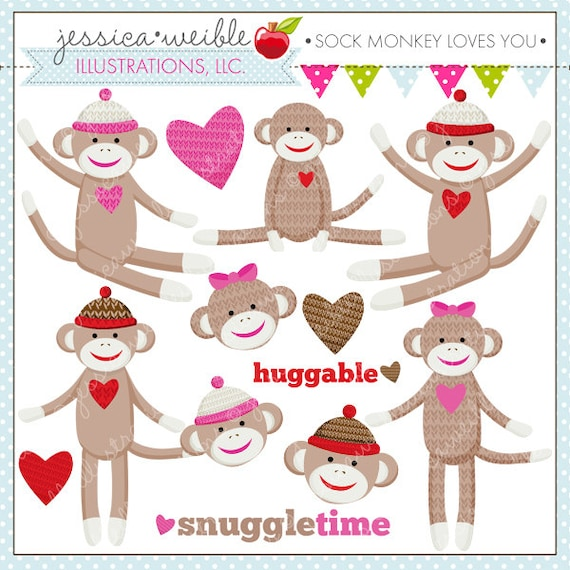 Sock Monkey Loves You Cute Digital Clipart Commercial Use OK