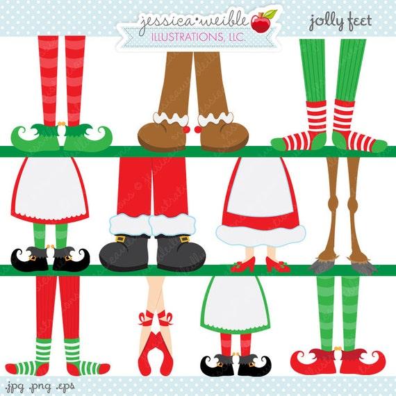 Jolly Feet Cute Digital Clipart - Commercial Use OK - Christmas Graphics - Christmas Clipart - Christmas Feet