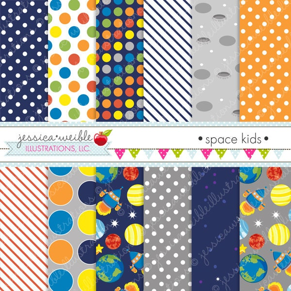 Space Kids Cute Digital Papers Backgrounds for Invitations