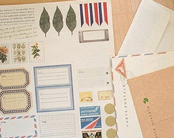 Various Post Vintage Stickers & Envelopes - B (6.2 x 7.9in)