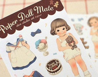 Paper Doll Mate Stickers - Paper Type 6 sheets (3.7 x 7.4in)