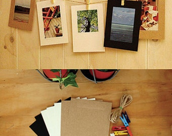 3 x 5 Photo Frames & Colorful Wooden Pegs - 7 sheets (4.5x 5.9in)