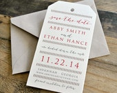 Luella Vintage Luggage Tag Wedding Save the Date - Metallic Ivory, Red, Kraft, Charcoal, Text and Colors are Customizable