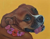 Happy Boxer Dog Print - Dog Flower Girl Print - Boxer Art - 10% benefits animal rescue