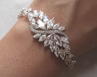 Swarovski Crystal Wedding Bracelet, Cubic Zirconia Bracelet, Rhinestone Bridal Bracelet - LA RUE BIJOU