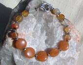 "Carnelian & Peach Aventurine Crystal Gemstone Bracelet ""Butterscotch"", Orange Bracelet, Chakta Bracelet, Silver Bracelet, Aries"