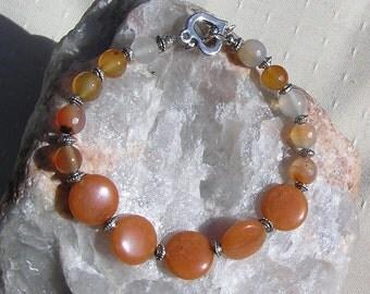 """Carnelian & Peach Aventurine Crystal Gemstone Bracelet """"Butterscotch"""", Orange Bracelet, Chakra Bracelet, Silver Bracelet, Libra Bracelet"""