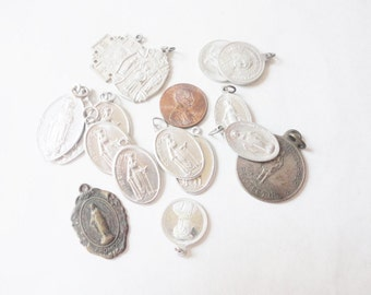 vintage religious Holy medals made in Italy virgin Mary st Christopher aluminium YOU CHOOSE