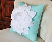 White Dahlia Flower on Bright Aqua Pillow -Decorative Aqua Blue Pillow-