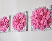 """Nursery Decor Wall Hangings- SET OF THREE Pink Dahlia on White and Gray Damask 12 x12"""" Canvas -Wall Flower"""