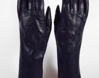 6-1/2-Womens Vintage Black Kid Leather Dress/Prom/Church Gloves - 10-1/2 inches(117g)