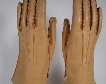 6-Vintage Women's Light Brown Kid Leather Church/Dress Gloves - 8-1/2 inches long(207g)