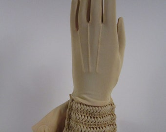 6-Womens Vintage Light Peach Gloves for Dress/Prom-10 inches long(336g)