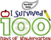 100 Days of Kindergarten Applique Embroidery Design