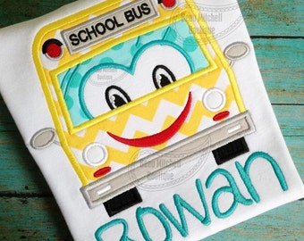 School Bus Applique Embroidery Design
