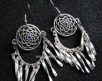 Silver boho earrings | flower dangle | blue chandelier