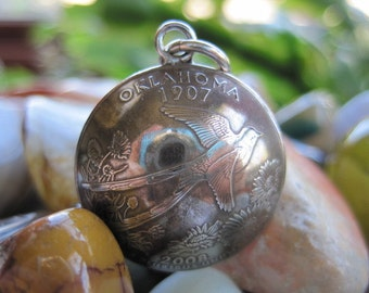 Domed Antiqued Oklahoma Quarter Pendant with Handmade Sterling Silver Bail MADE TO ORDER.
