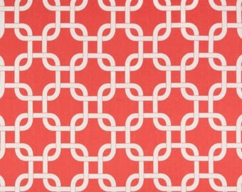 Premier Prints Fabric, Gotcha in Coral, Chain Link Fabric, Home Decorator Weight Fabric, 1 Yard