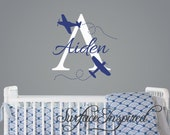Airplane wall decals with custom name decal. Nursery wall decals with custom name decal.